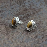 Silvesto India 925 Sterling Silver Natural Yellow Tiger Eye Oval Shape Gemstone Stud Earring For Women