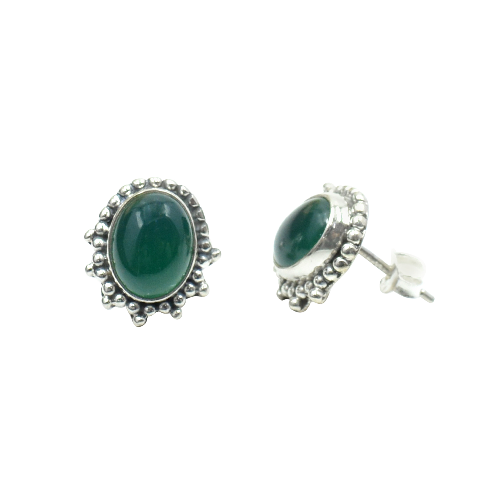 Silvesto India 925 Sterling Silver Natural Green Onyx Oval Shape Antique Gemstone Stud Earring For Women
