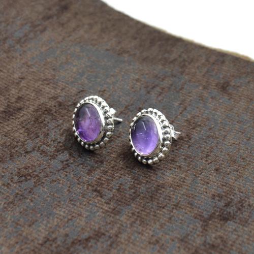 Silvesto India 925 Sterling Silver Natural Purple Amethyst Oval Shape Gemstone Post Stud Earring For Women