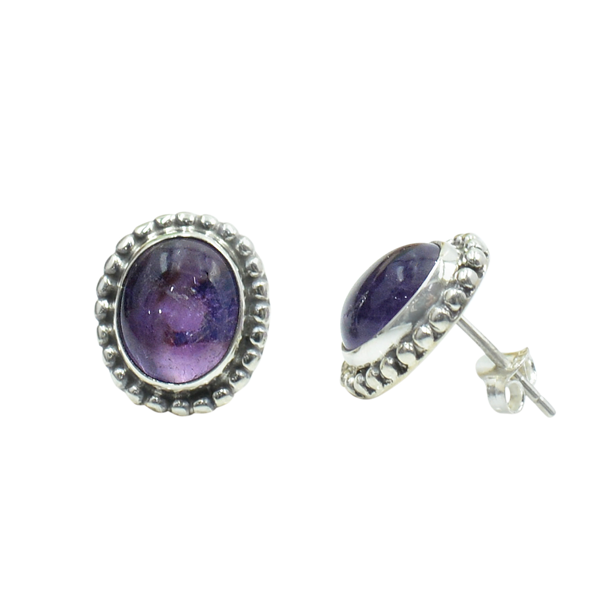 Silvesto India 925 Sterling Silver Natural Purple Amethyst Oval Shape Gemstone Post Stud Earring For Women