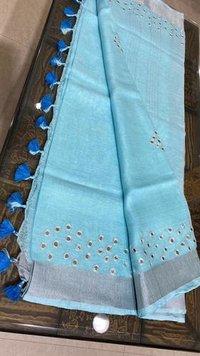 Glamorous Linen 120 Count Saree