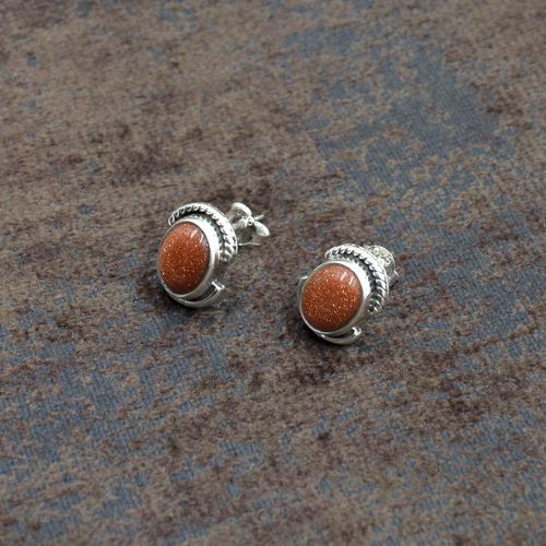 Silvesto India 925 Sterling Silver brown sandstone  Oval Shape Gemstone Stud Earring For Women