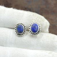 Silvesto India 925 Sterling Silver Natural Lapis Lazuli Oval Shape Gemstone Stud Earring For Women