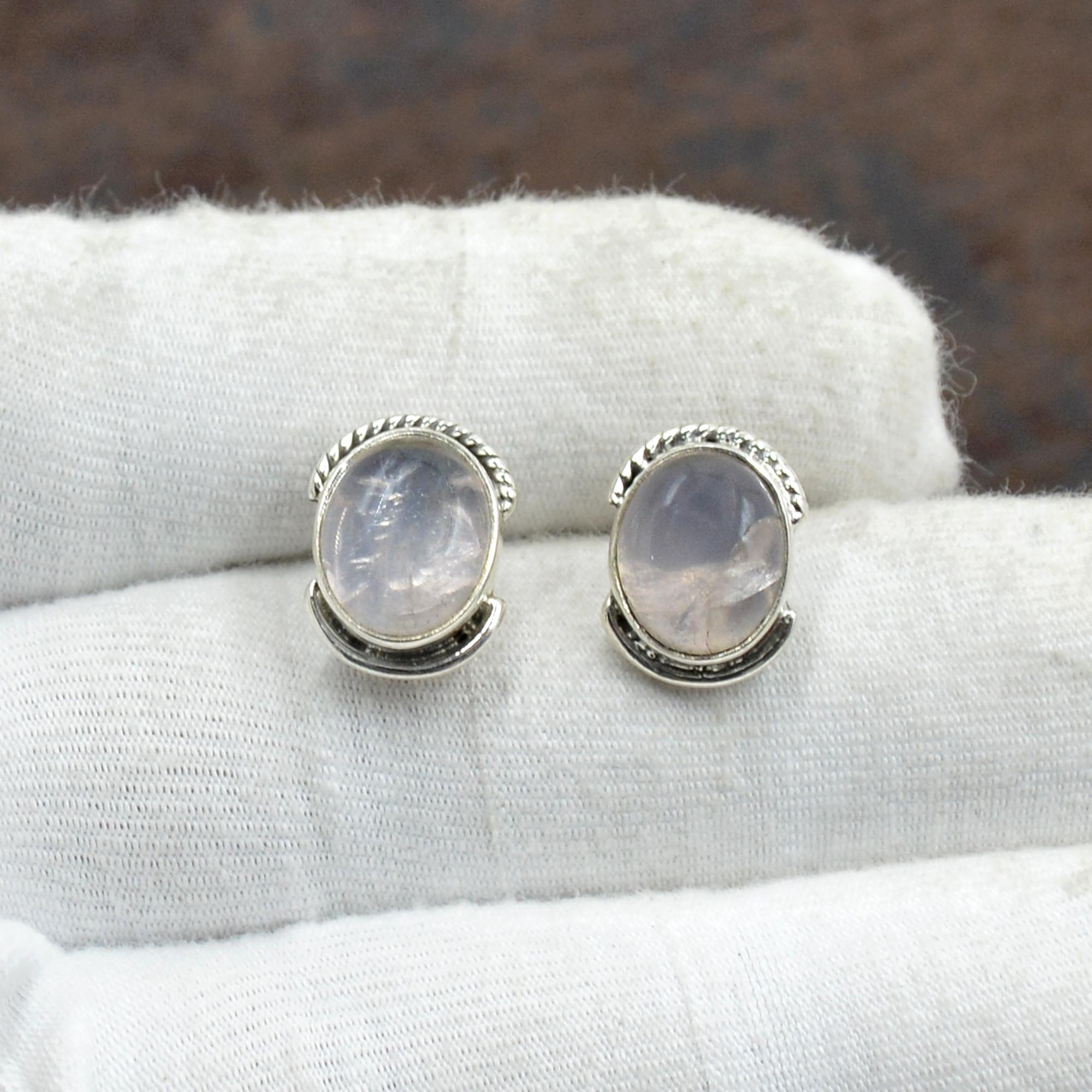 Silvesto India 925 Sterling Silver Natural Rose Quartz Oval Shape Gemstone Stud Earring For Women
