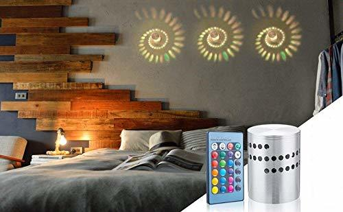 3W Spiral Led Decorative Wall lamp with Remote,Multicolour RGB