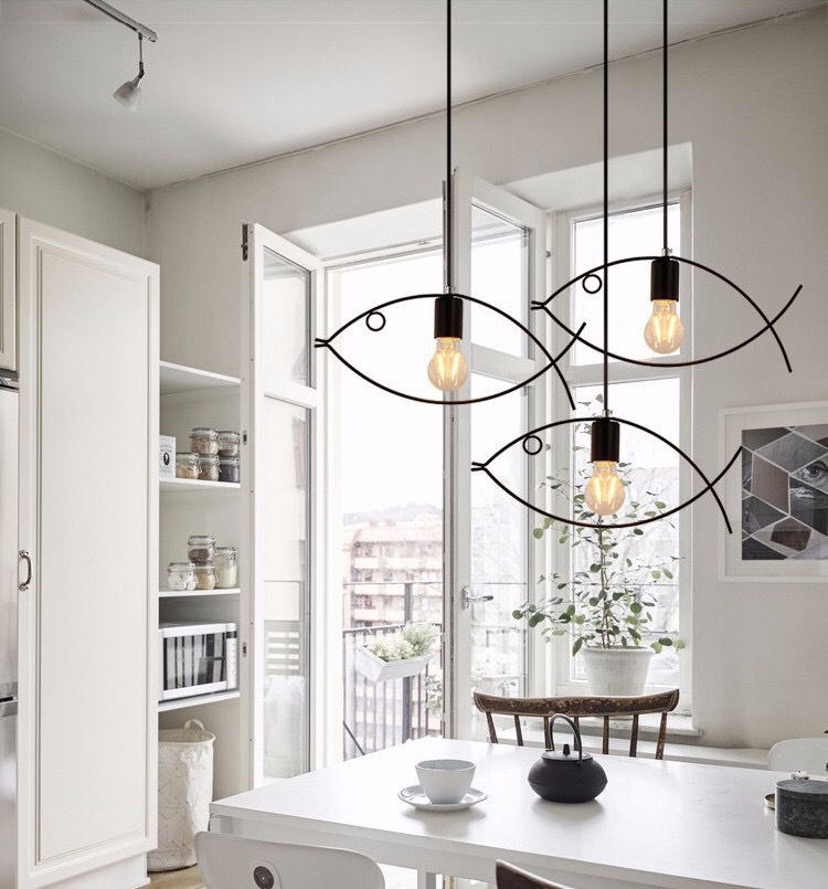 Fish Shape Chandelier Set Of 3 Hanging (Warm White)