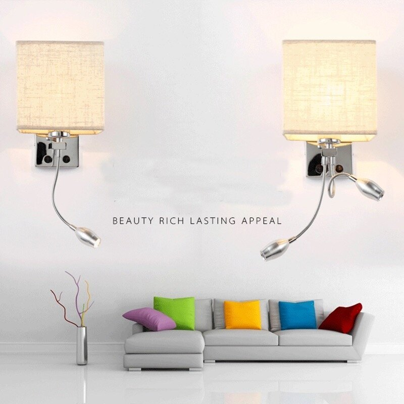 Wall Lamp Cloth E27 With Adjustable Focus 3w Led,bedside,3 Colour (Ww,nw,cw)