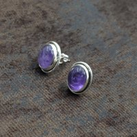 Silvesto India 925 Sterling Silver Natural Amethyst Oval Shape Gemstone Stud Earring For Women