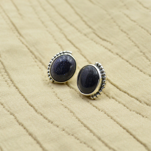 Silvesto India 925 Sterling Silver Natural Black Onyx Oval Shape Gemstone Stud Earring For Women