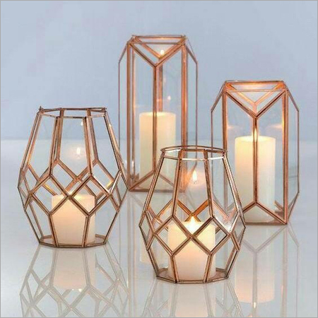 Decorative Candle Lantern Brass