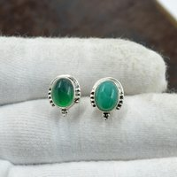 Silvesto India 925 Sterling Silver Natural Light Green Onyx Oval Shape Gemstone Stud Earring For Women