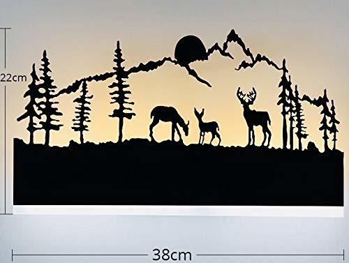 15W Wall Led Lamp Rectangle, 3 Deer (Warm White + White)