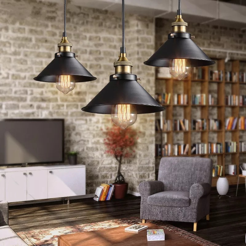 Black Modern Retro Pendant Lamp with Halogen Bulb E27 (Warm White)