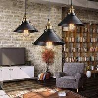 Black Modern Retro Pendant Lamp with Halogen Bulb E27 (Warm White)