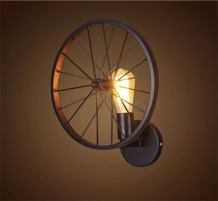 Industrial Retro Wheel Wall Lamp with Bulb E27 (Warm White)