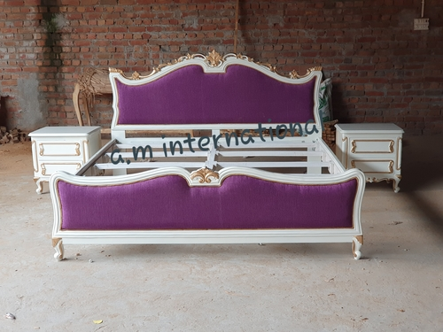 Antique White Deco Bed In Teak Wood