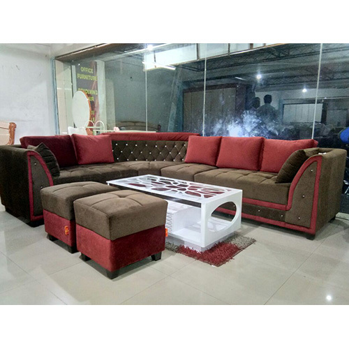 U Shaped Wooden Sofa Set