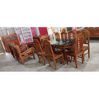 Dining Table With Glass Top  6 Chairs Set