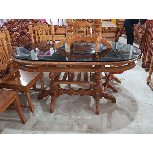 wooden and glass top dining table