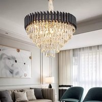 180W K9 Crystal Chandelier Hanging,(with Tricolour E14, 12W,15 Pcs), (Warm White+Cold White+ Natural White)