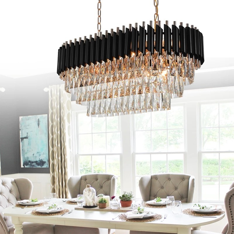 144W K9 Crystal Chandelier Rectangle,(with Tricolour E14, 12W,12 Pcs)