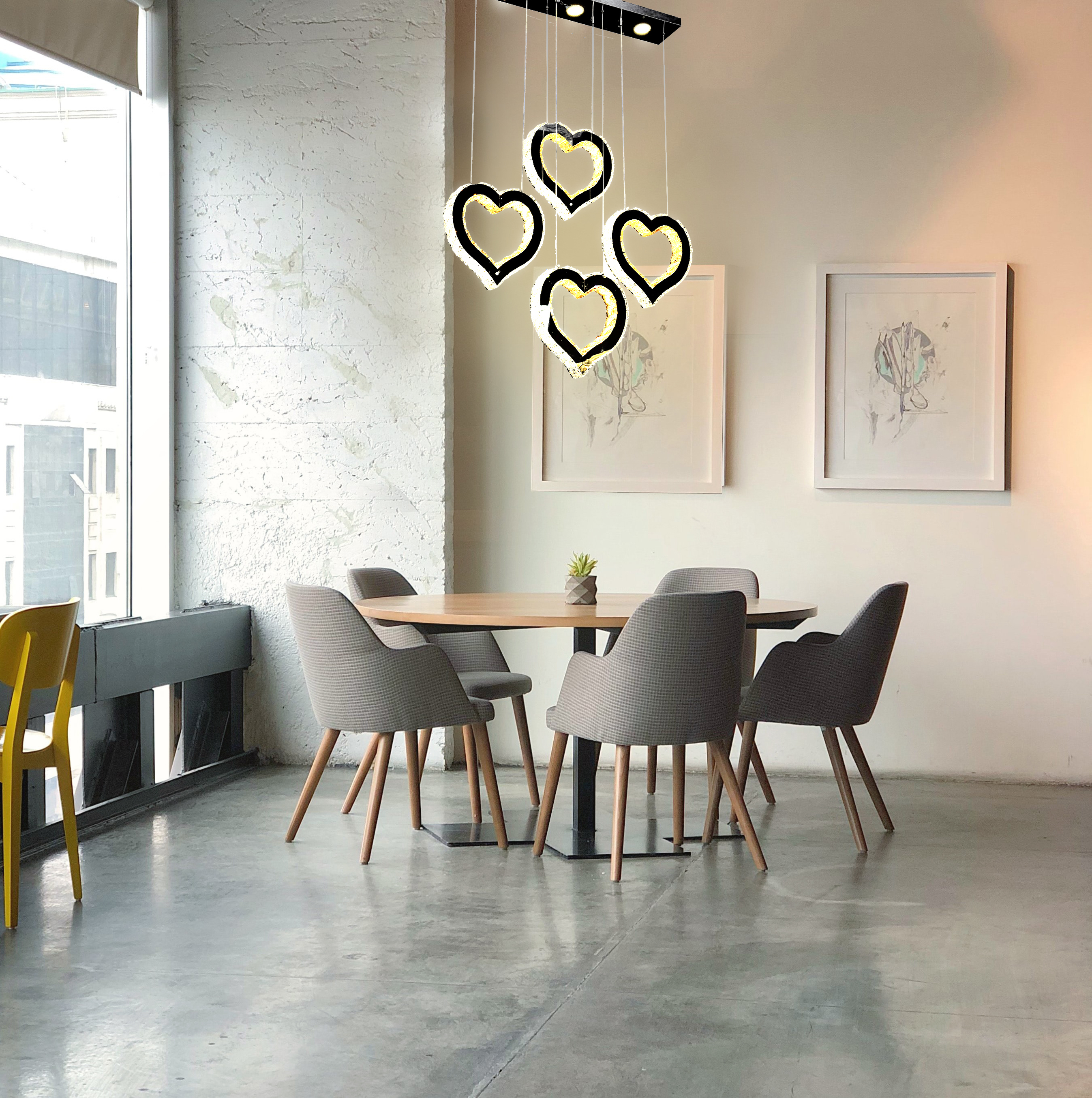 90w Four Heart Shape K9 Crystal Led Chandelier,remote Control,3 Colours
