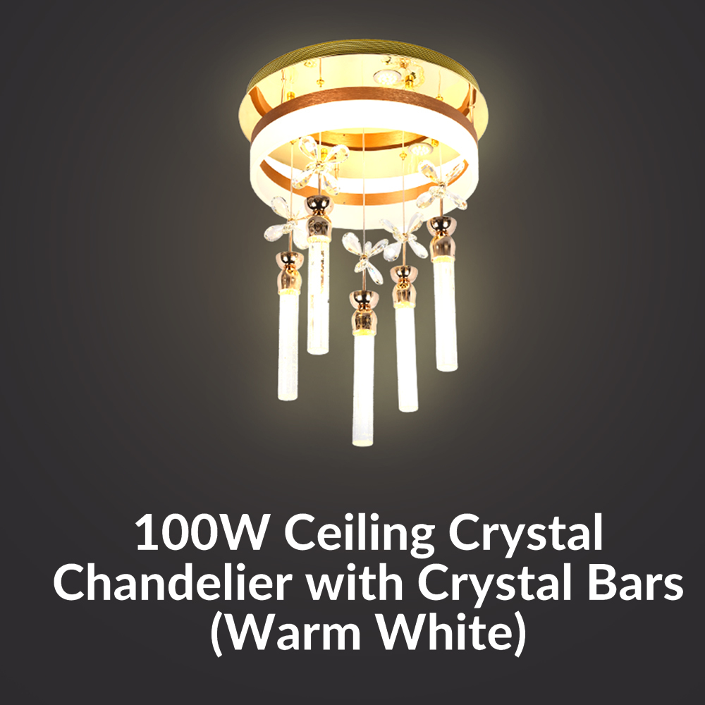 100W Ceiling Crystal Chandelier with 5- K9 Crystal Bars (Warm White)