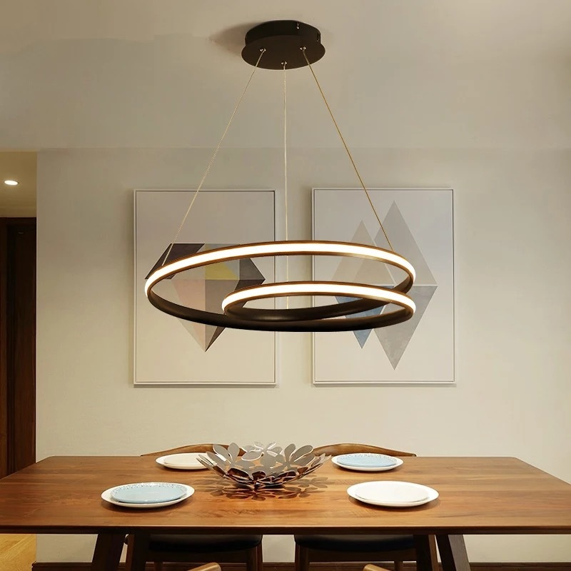 54W Double Round Chandelier, Remote Control,App Control, Step-Less Dimming,Voice Assist (Google, Alexa)