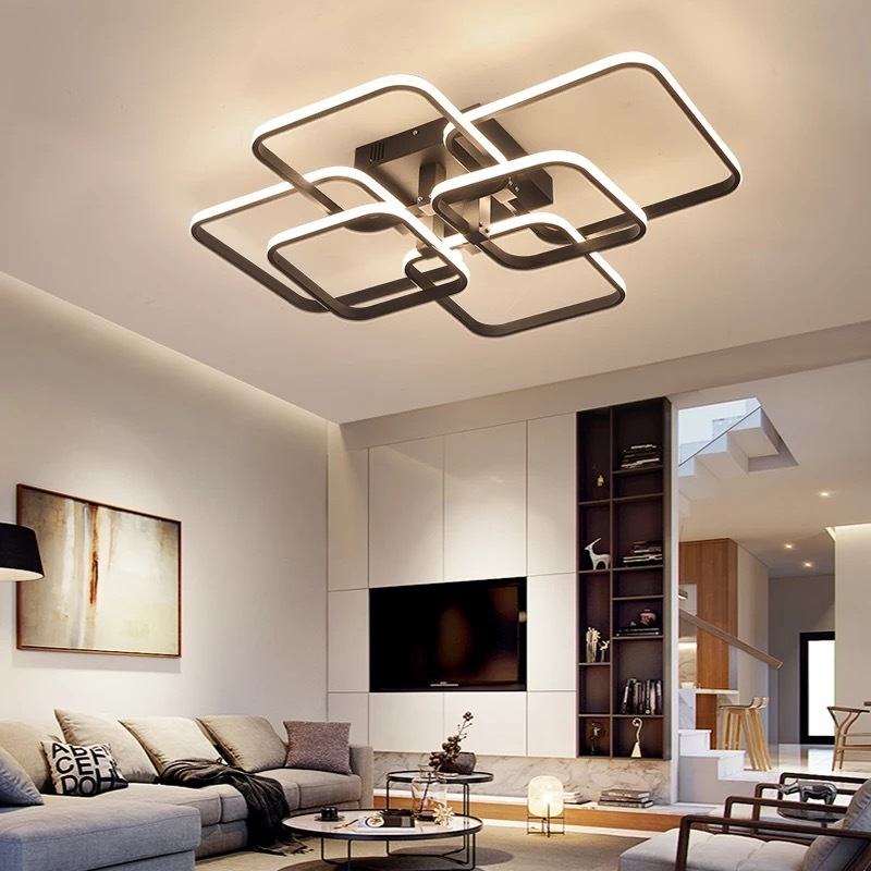86W Ceiling Chandelier 6 Squares, Remote Control,App Control, Step-Less Dimming,Voice Assist (Google, Alexa)