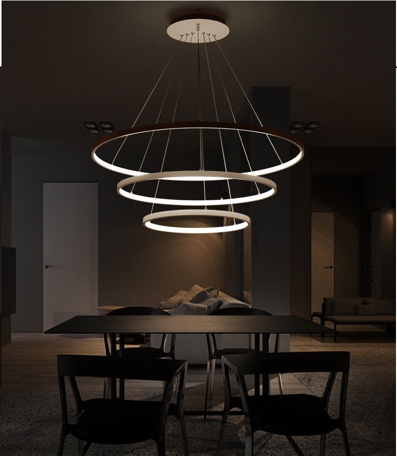 120W Three Ring Chandelier, Remote Control,App Control, Step-Less Dimming,Voice Assist (Google, Alexa)