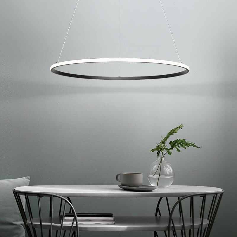 42W Single Ring Chandelier, Remote Control,App Control, Step-Less Dimming,Voice Assist (Google, Alexa)