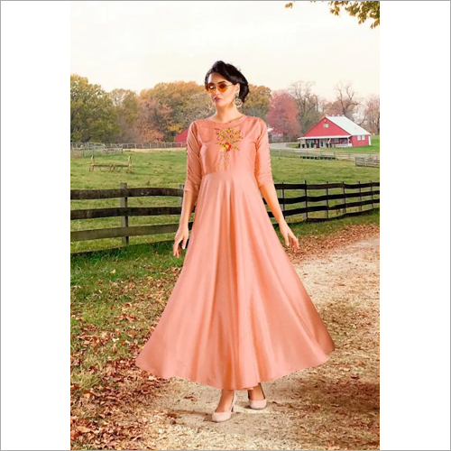 Ladies Peach Color Anarkali Suit