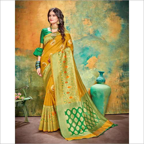 Ladies Mustard Banarasi Saree