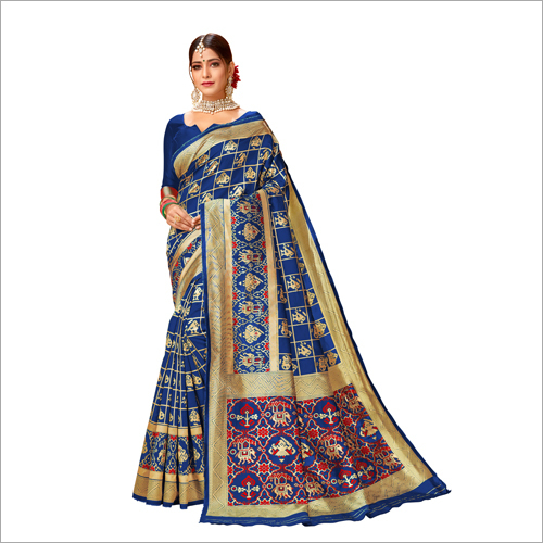 Ladies Blue Printed Banarasi Saree