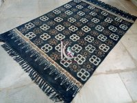 Modern flat woven hand block printed carpet rug