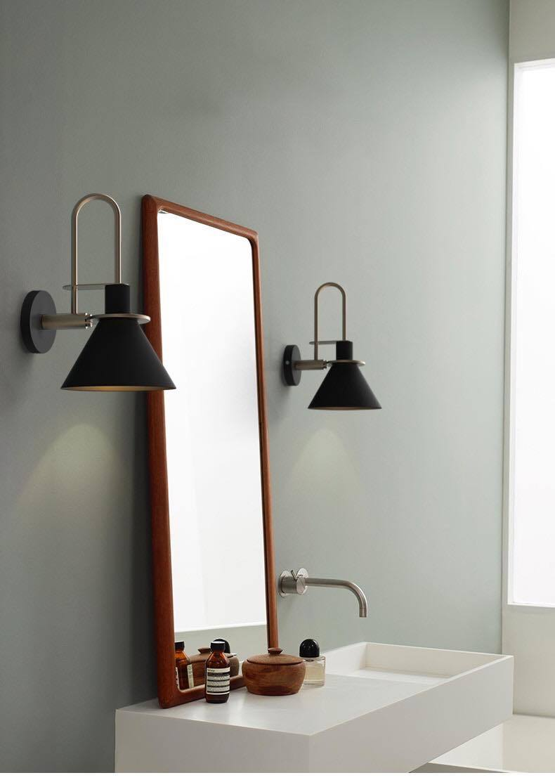 Black Hanging Wall Lamp,with Bulb E27 (Warm White)
