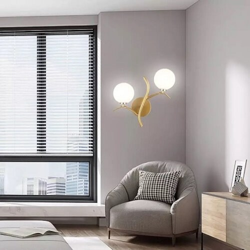 Post Modern Two Glass Wall Lamp, with Bulb G4 (Warm White)