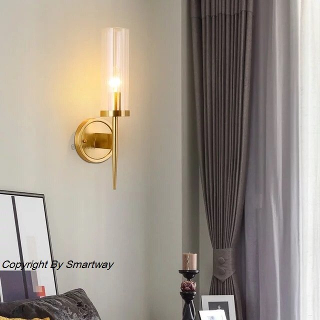 Bronze Glass Long Wall Lamp,with Bulb E14 (Warm White)