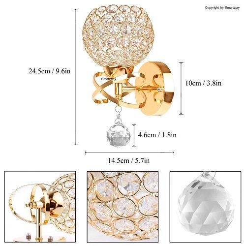 Golden Crystal Wall Lamp (Warm White)