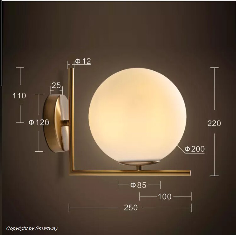 Post Modern L Shape Glass Wall Lamp, with Led Bulb E27 (Warm White)