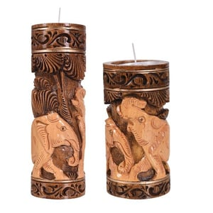 Brown Colour Wooden Animal Carving Candle Holder