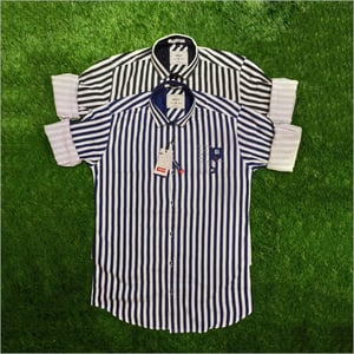 Mens Stariaght Striped Printed Shirt