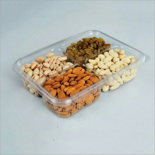4 compartment 200 gm Dry Fruit Hinged Box