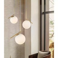 Post Modern L Shape Long Glass Pendant Lamp with E27 Bulb,3 Colour (Warm White+Natural White+ Cold White)