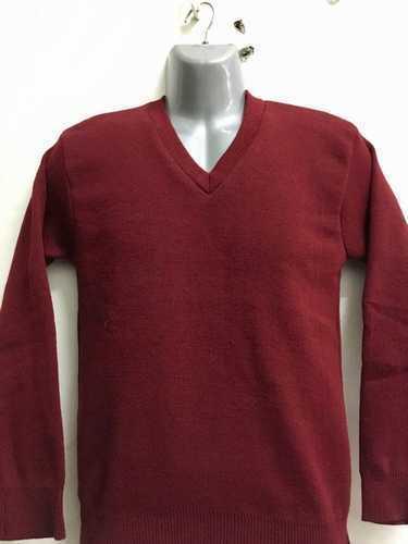 Mehroon Plain School Sweater