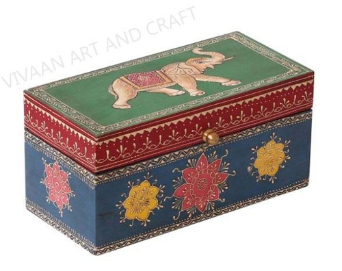 Wooden Handicraft Jewelry Box Hand Painted Traditional Art Of Rajasthan