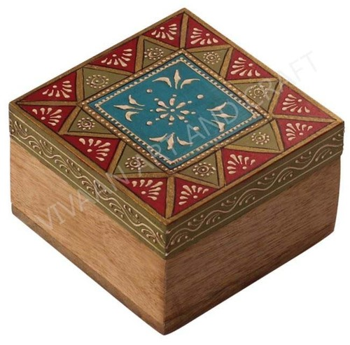 Wooden Jewelry Box Hand Made Art Small Square