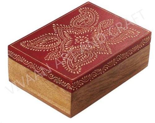 Wooden Handicraft Jewelry Box Hand Made Art Rectangle