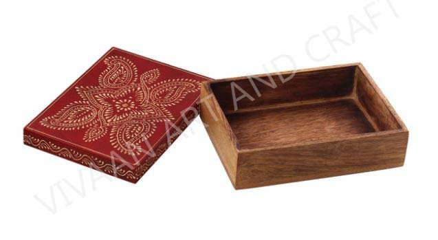 Wooden Jewelry Box Hand Made Art Rectangle