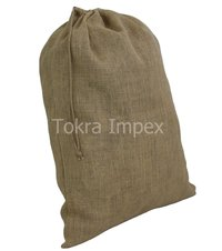 Set Of 5 Jute Drawstring Bags